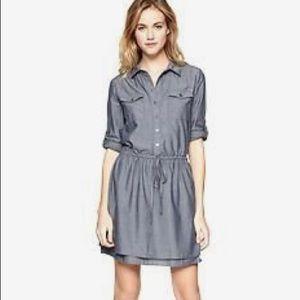 GAP Roll Sleeve Belt Chambray Denim Shirt Dress S